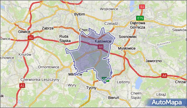 powiat Katowice - województwo śląskie na mapie Targeo