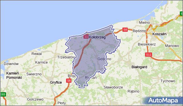 powiat kołobrzeski - województwo zachodniopomorskie na mapie Targeo