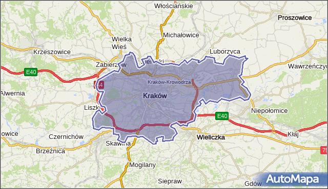 powiat Kraków - województwo małopolskie na mapie Targeo