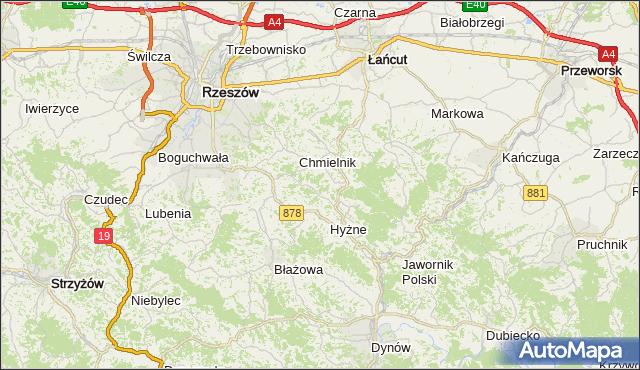 powiat krośnieński - województwo podkarpackie na mapie Targeo