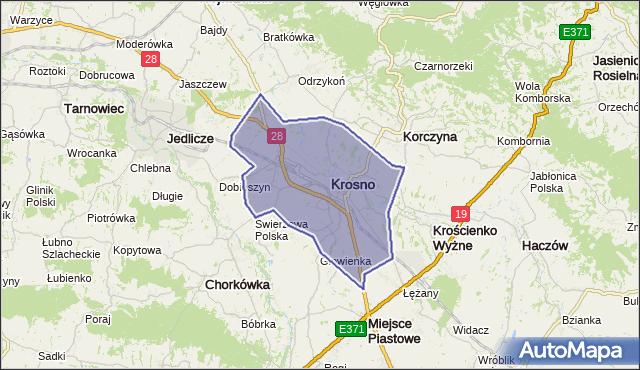 powiat Krosno - województwo podkarpackie na mapie Targeo