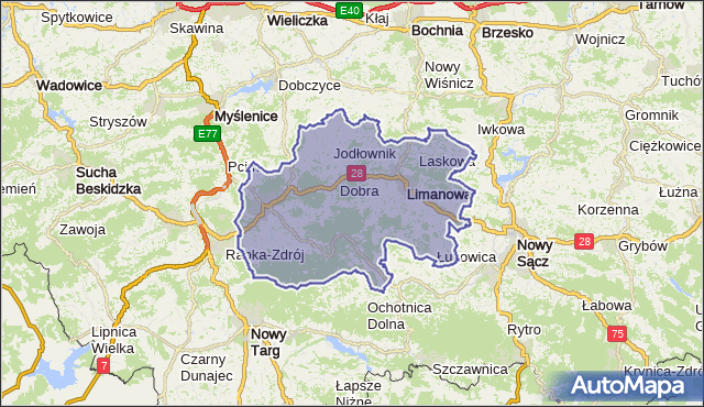 powiat limanowski - województwo małopolskie na mapie Targeo