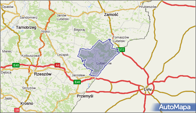 powiat lubaczowski - województwo podkarpackie na mapie Targeo