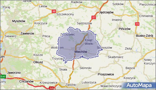 powiat miechowski - województwo małopolskie na mapie Targeo