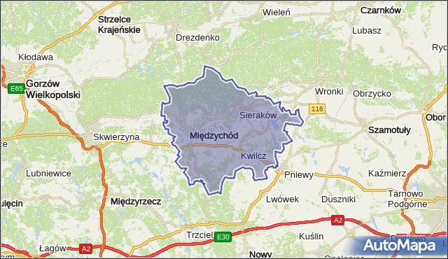 powiat międzychodzki - województwo wielkopolskie na mapie Targeo
