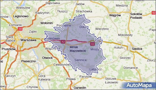 powiat miński - województwo mazowieckie na mapie Targeo