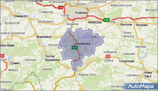 powiat myślenicki - województwo małopolskie na mapie Targeo