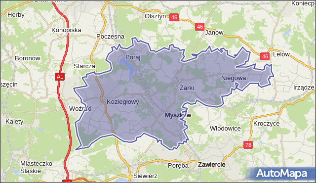 powiat myszkowski - województwo śląskie na mapie Targeo