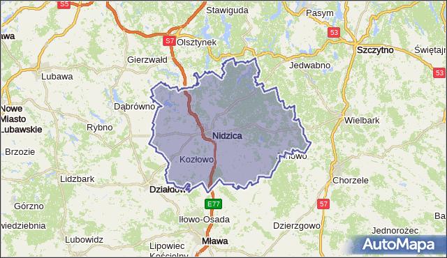powiat nidzicki - województwo warmińsko-mazurskie na mapie Targeo
