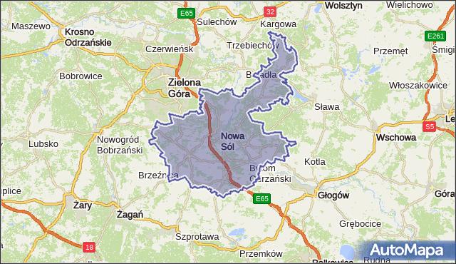 powiat nowosolski - województwo lubuskie na mapie Targeo
