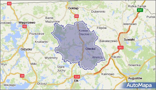 powiat olecki - województwo warmińsko-mazurskie na mapie Targeo