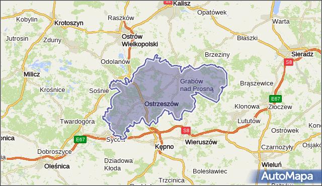 powiat ostrzeszowski - województwo wielkopolskie na mapie Targeo