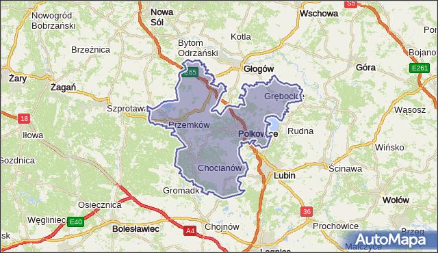powiat polkowicki - województwo dolnośląskie na mapie Targeo