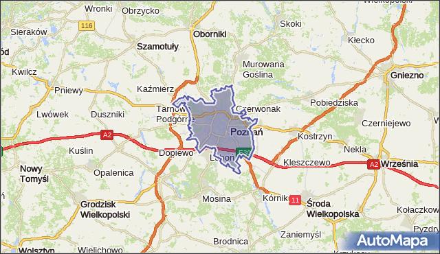 powiat Poznań - województwo wielkopolskie na mapie Targeo