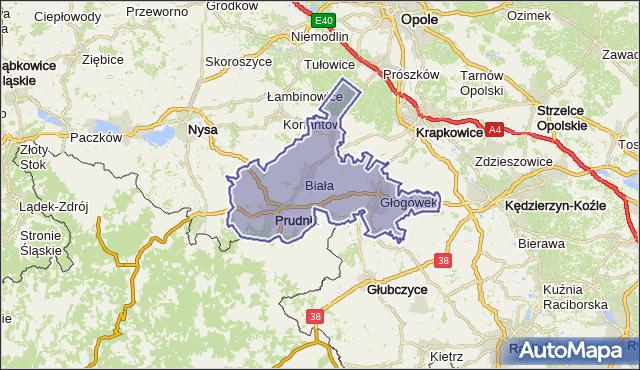 powiat prudnicki - województwo opolskie na mapie Targeo