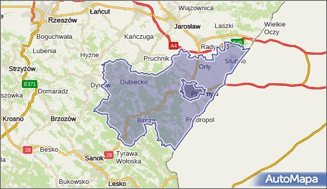 powiat przemyski - województwo podkarpackie na mapie Targeo