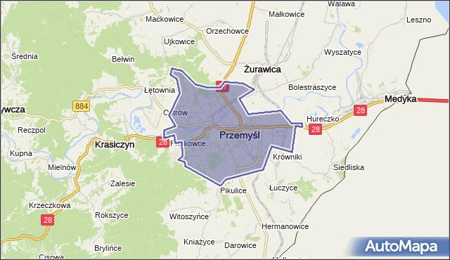 powiat Przemyśl - województwo podkarpackie na mapie Targeo