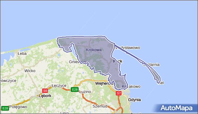 powiat pucki - województwo pomorskie na mapie Targeo