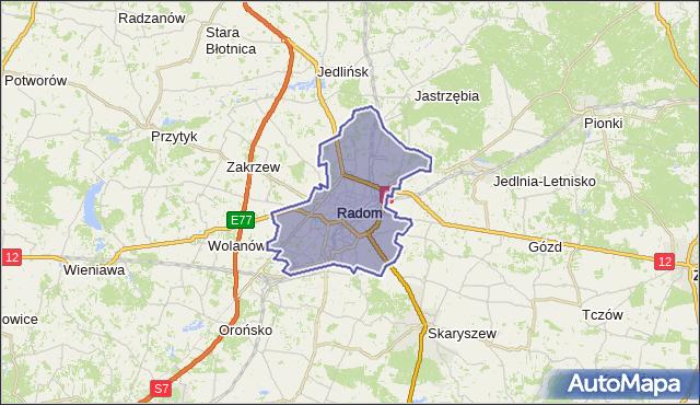powiat Radom - województwo mazowieckie na mapie Targeo