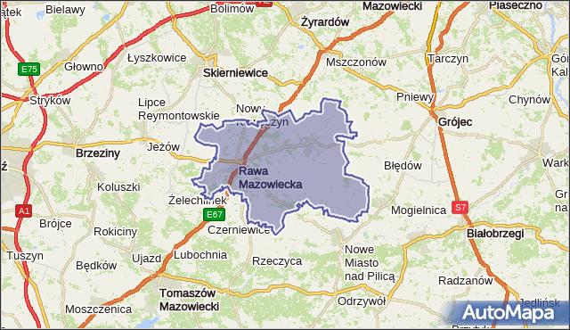 powiat rawski - województwo łódzkie na mapie Targeo