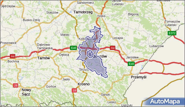 powiat rzeszowski - województwo podkarpackie na mapie Targeo