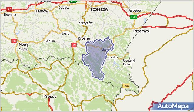 powiat sanocki - województwo podkarpackie na mapie Targeo