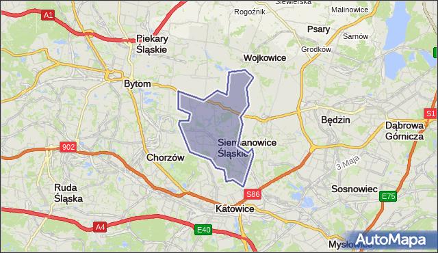 powiat Siemianowice Śląskie - województwo śląskie na mapie Targeo