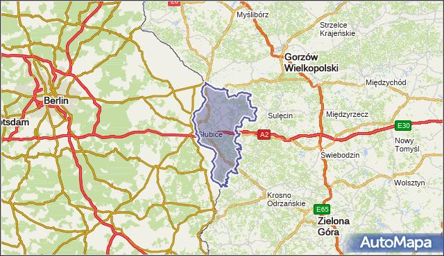 powiat słubicki - województwo lubuskie na mapie Targeo