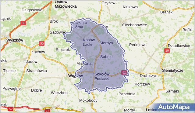 powiat sokołowski - województwo mazowieckie na mapie Targeo