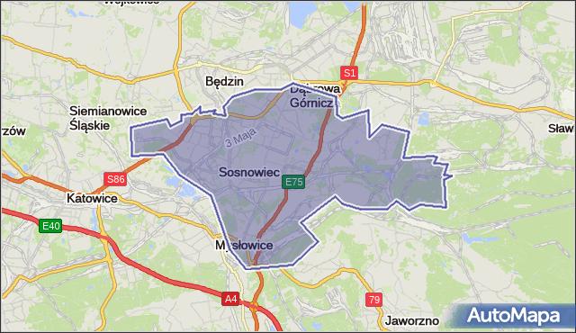 powiat Sosnowiec - województwo śląskie na mapie Targeo