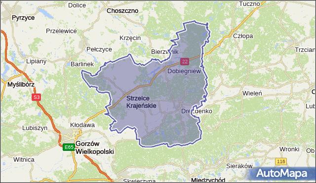 powiat strzelecko-drezdenecki - województwo lubuskie na mapie Targeo