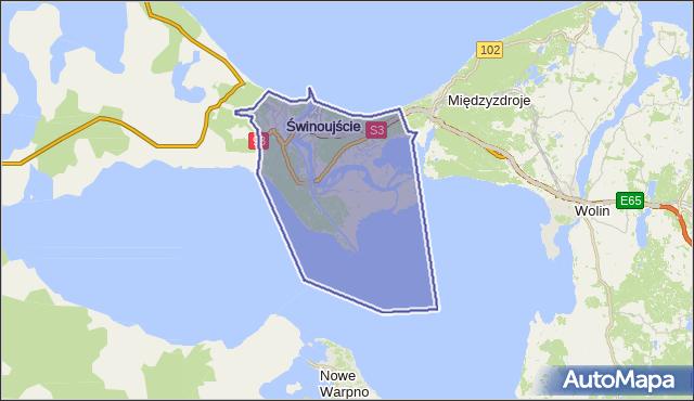 powiat Świnoujście - województwo zachodniopomorskie na mapie Targeo