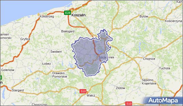 powiat szczecinecki - województwo zachodniopomorskie na mapie Targeo