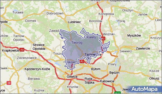 powiat tarnogórski - województwo śląskie na mapie Targeo