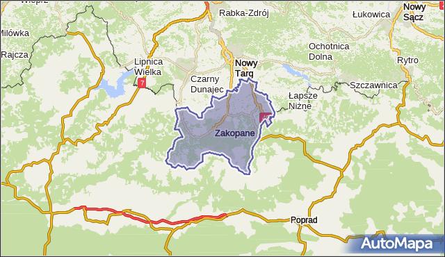 powiat tatrzański - województwo małopolskie na mapie Targeo