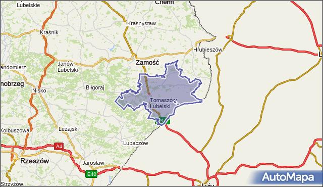 powiat tomaszowski - województwo lubelskie na mapie Targeo