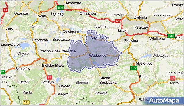 powiat wadowicki - województwo małopolskie na mapie Targeo