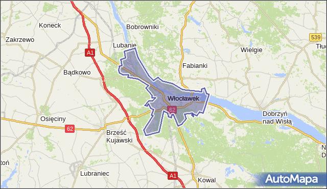 powiat Włocławek - województwo kujawsko-pomorskie na mapie Targeo