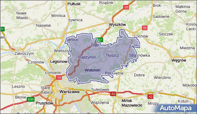 powiat wołomiński - województwo mazowieckie na mapie Targeo