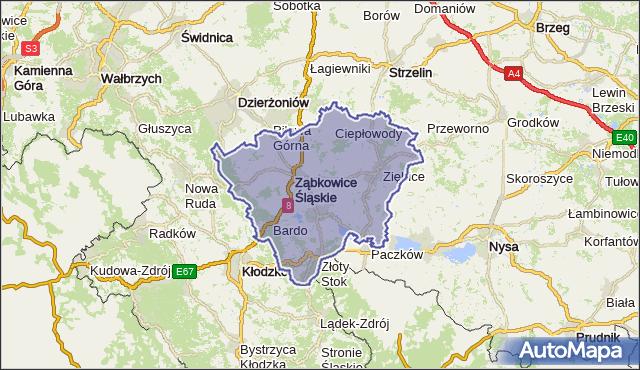 powiat ząbkowicki - województwo dolnośląskie na mapie Targeo