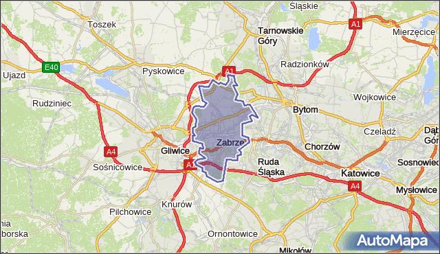 powiat Zabrze - województwo śląskie na mapie Targeo