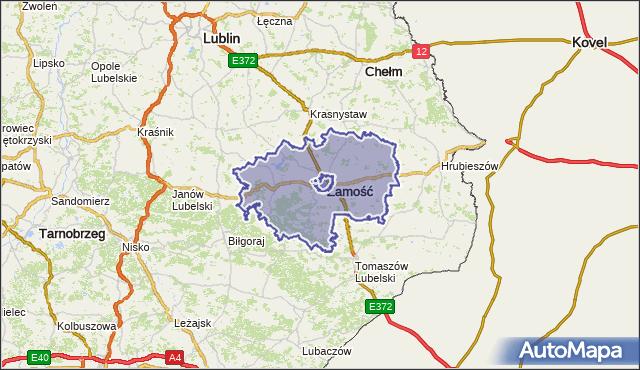 powiat zamojski - województwo lubelskie na mapie Targeo