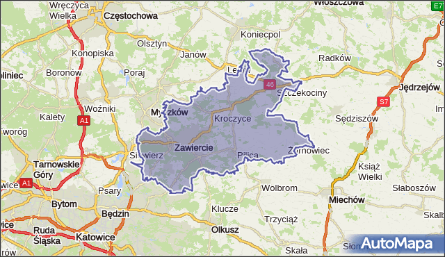 powiat zawierciański - województwo śląskie na mapie Targeo