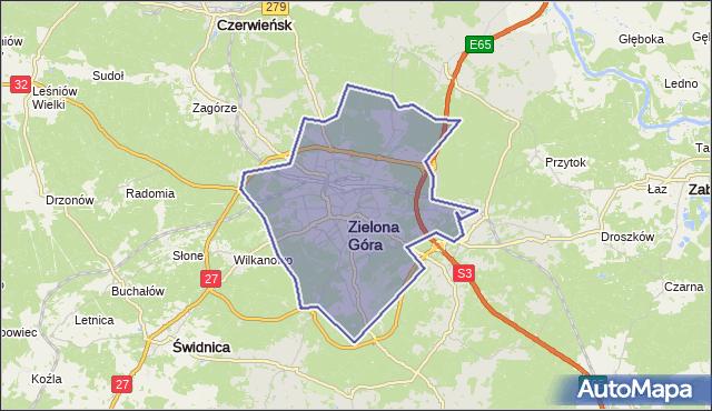 powiat Zielona Góra - województwo lubuskie na mapie Targeo