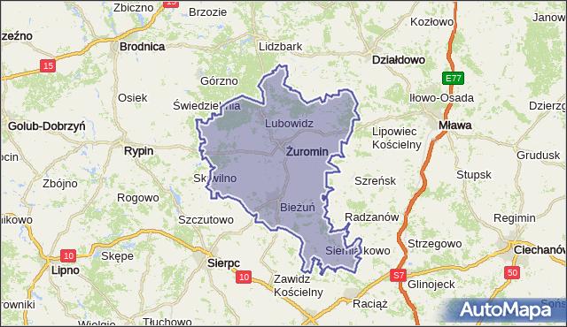 powiat żuromiński - województwo mazowieckie na mapie Targeo