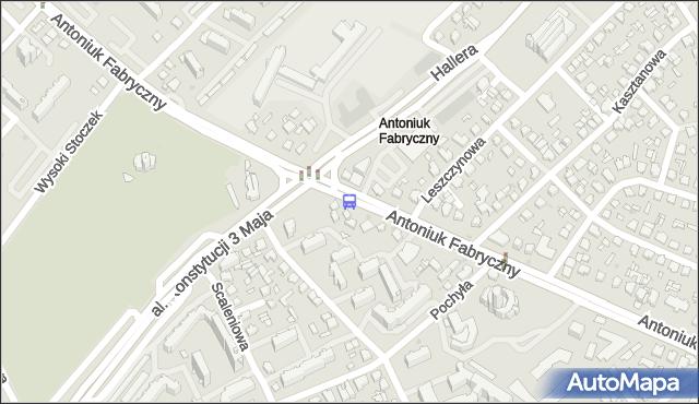 Przystanek ANTONIUK FABRYCZNY/KONSTYTUCJI 3 MAJA. BKM - Białystok (id 2) na mapie Targeo