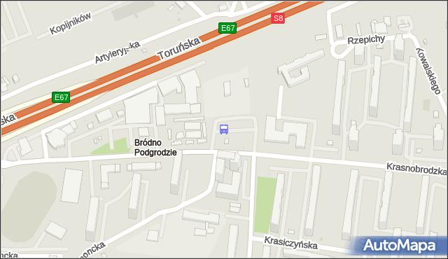 Przystanek Bródno-Podgrodzie 05. ZTM Warszawa - Warszawa (id 115205) na mapie Targeo