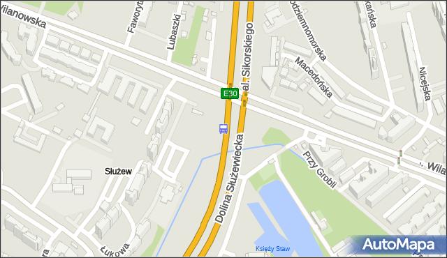 Przystanek Dolina Służewiecka 01. ZTM Warszawa - Warszawa (id 303901) na mapie Targeo