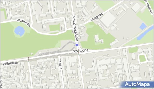 Przystanek Franciszkańska - Północna. MPKLodz - Łódź (id 189) na mapie Targeo