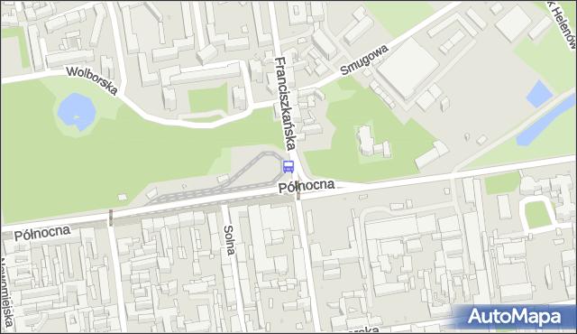 Przystanek Franciszkańska - Północna. MPKLodz - Łódź (id 190) na mapie Targeo